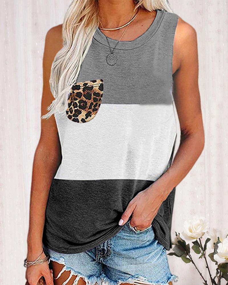 Leopard Print Colorblock Pocket Design Tank, boutiquefeel, black  - buy with discount