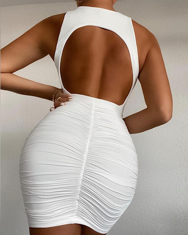 Plain Backless Ruched Bodycon Dress