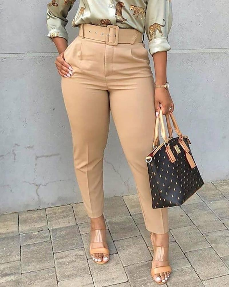 Pocket Design Solid Tailored Pants thumbnail
