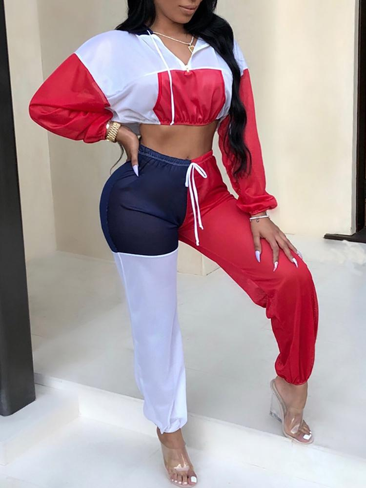 boutiquefeel / Colorblock Splicing Hooded Crop Top & Drawstring Pant Sets