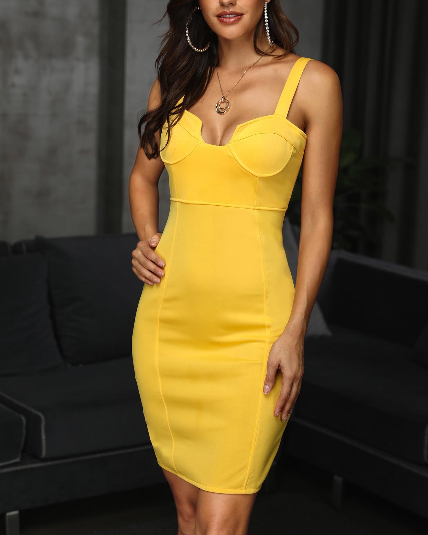 u-cut, figurbetontes kleid mit festem, dünnem träger online