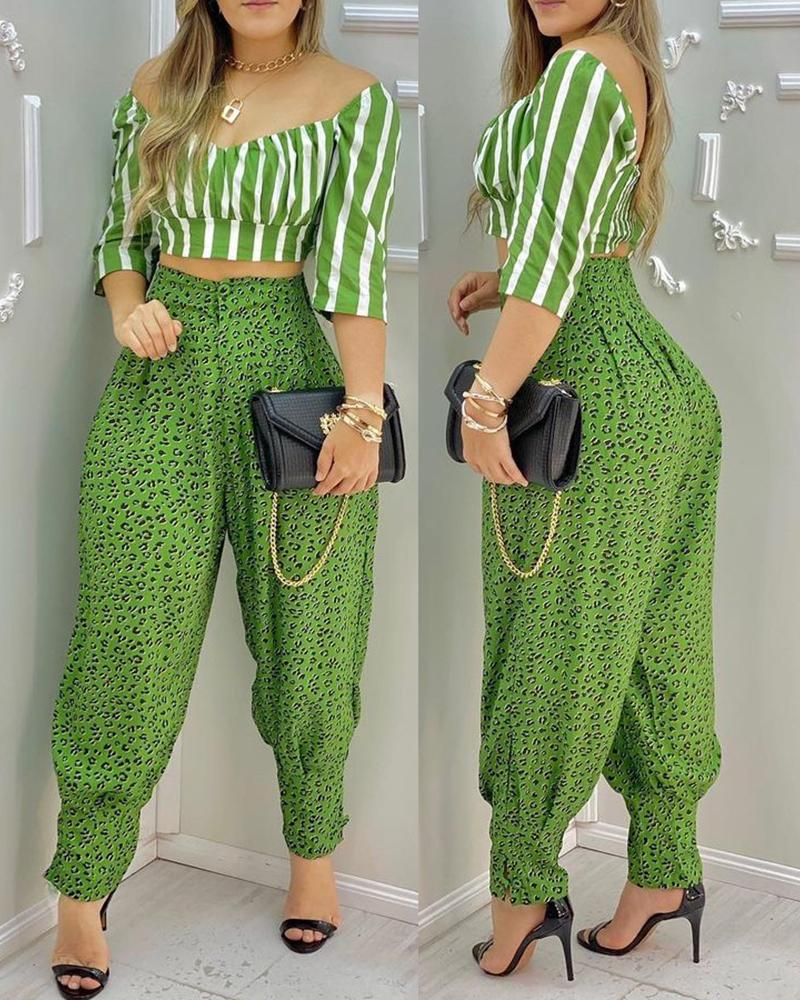 Striped Half Sleeve Crop Top & Cheetah Print High Waisted Pants Set