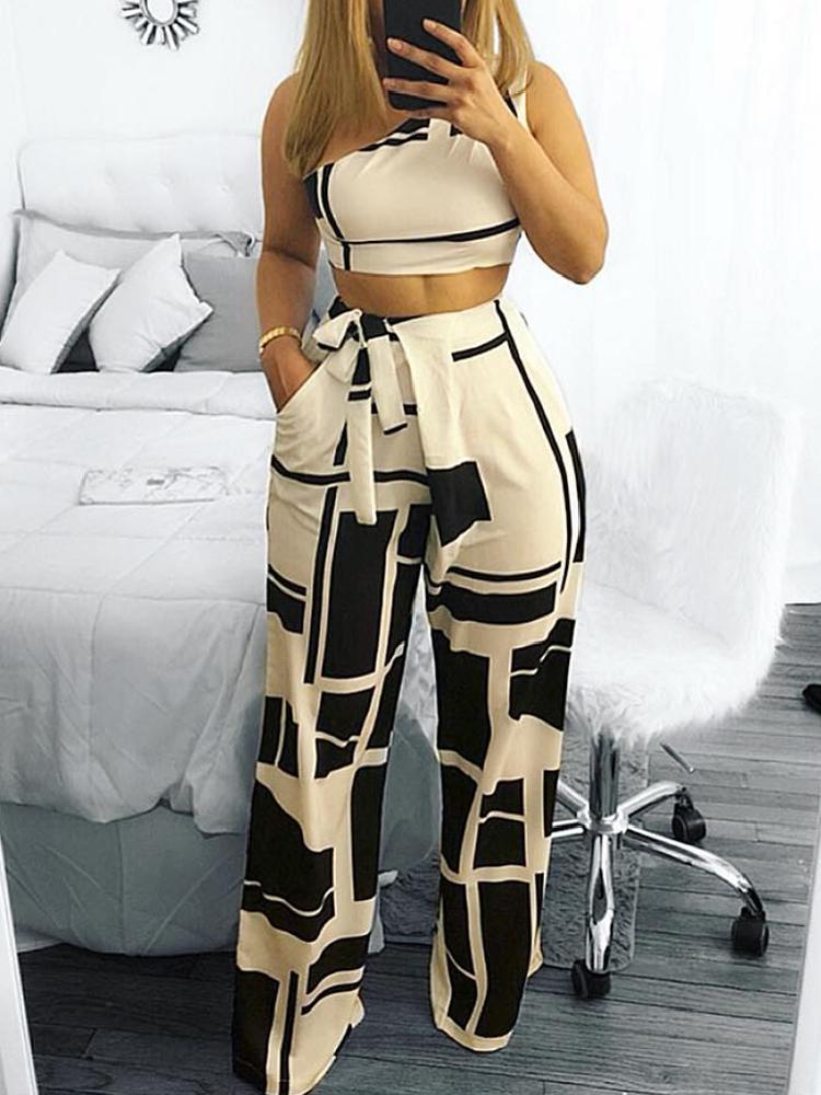Colorblock One Shoulder Cropped Wide Pants Set