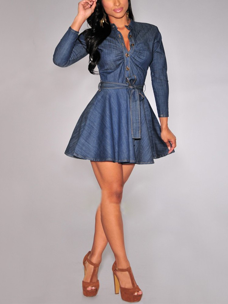 Denim Pleated Button Design Belted Casual Dress