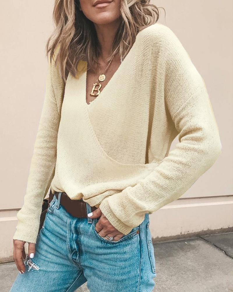 Solid Knit Long Sleeve Casual Sweater thumbnail