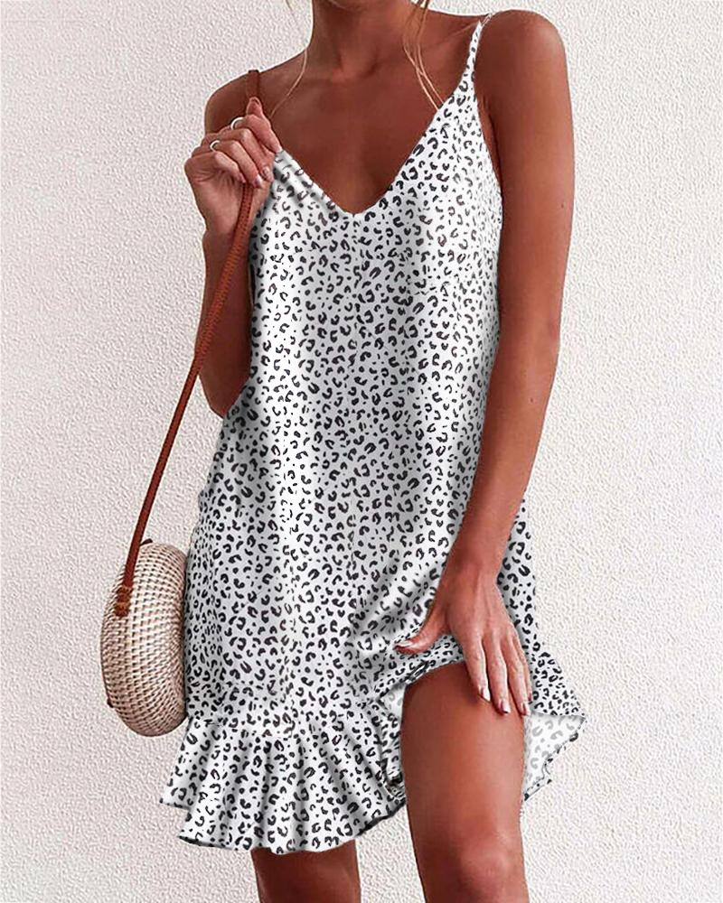 Spaghetti Strap Leopard Print Backless Ruffles Dress thumbnail