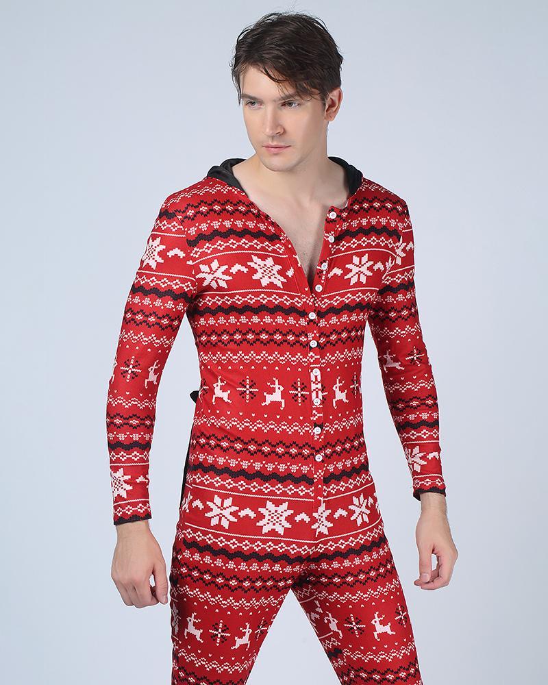 Christmas Reindeer Patterns Long Sleeve Rabbit Ear Hoodies Jumpsuit Sleepwear, Red