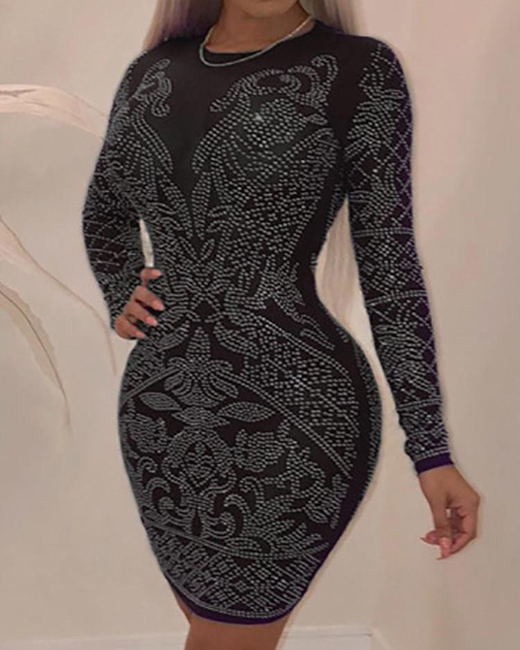 600e0d7b48ac Hot Stamping Long Sleeve Bodycon Dress Online. Discover hottest trend  fashion at chicme.com