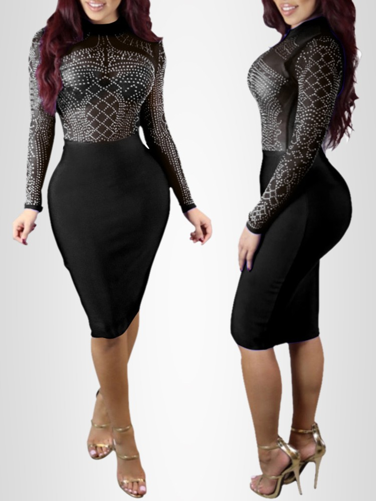Fashion Sexy Rhinestone Long Sleeve Bodycon Dress Online