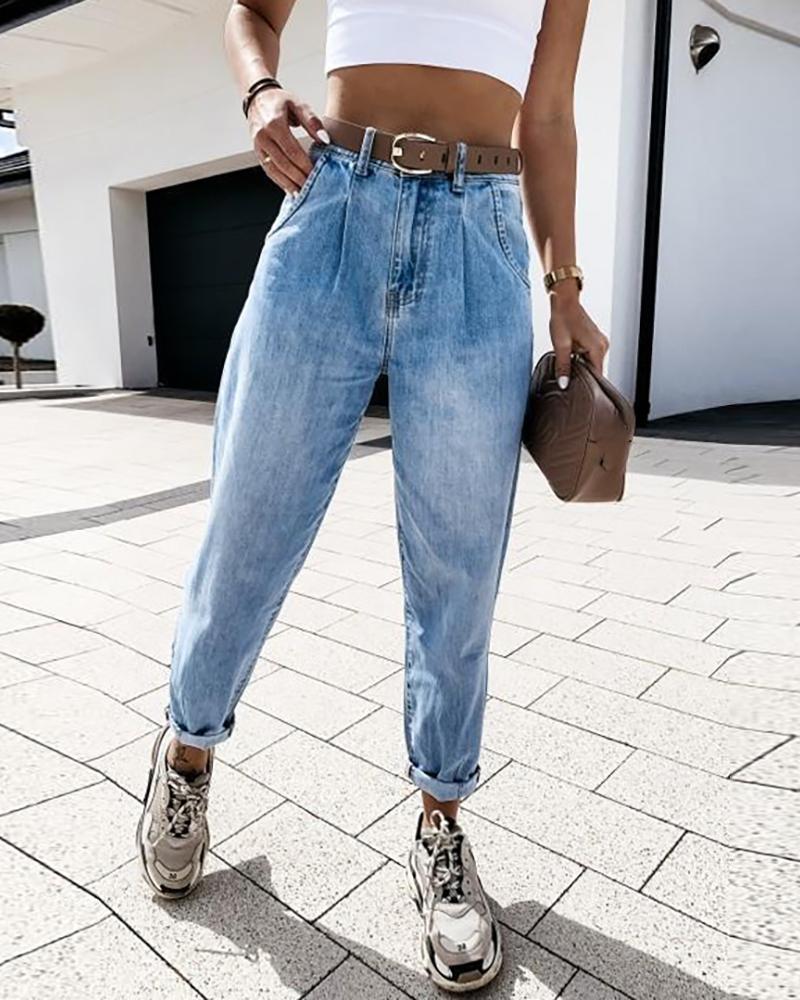 High Waist Pockets Design Casual Jeans thumbnail
