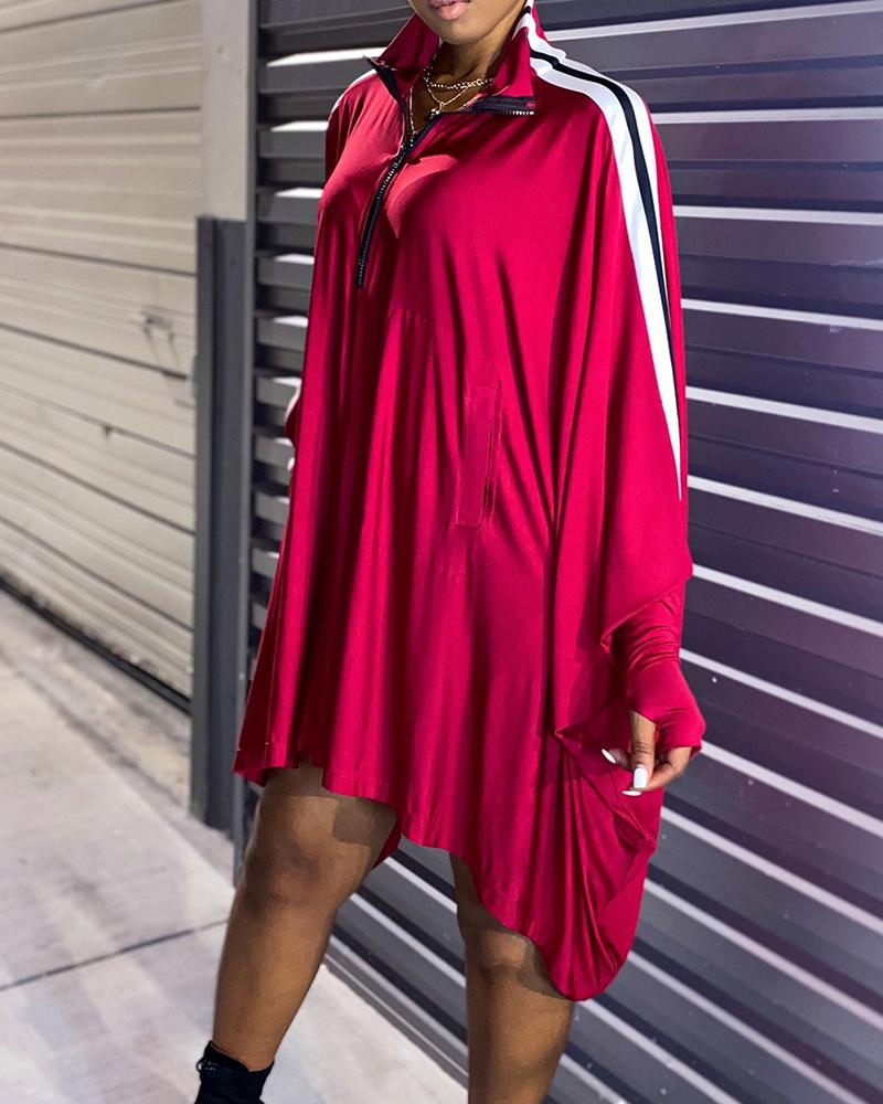 Color Block Long Sleeve Loose Dress thumbnail