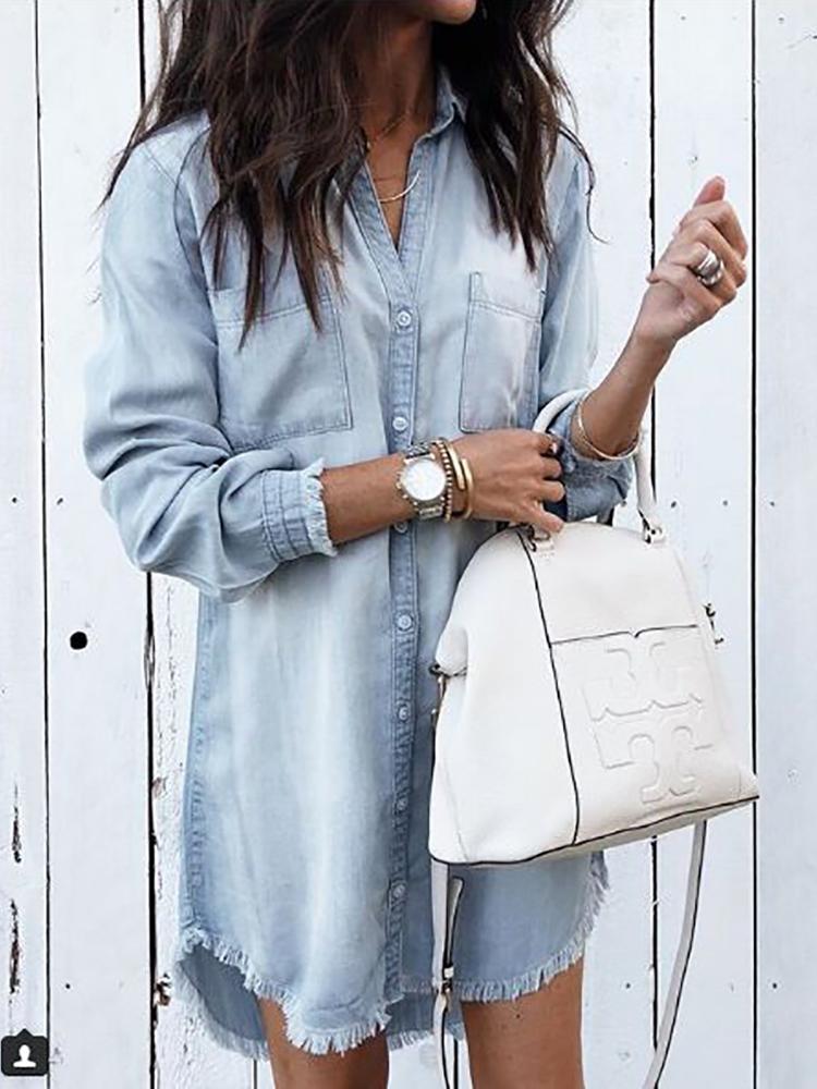 64c6fcf66780 Denim Frayed Hem Long Sleeve Shirt Dress
