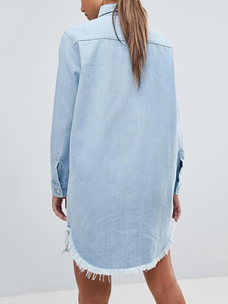 ab35f15b6ccc Denim Frayed Hem Long Sleeve Shirt Dress