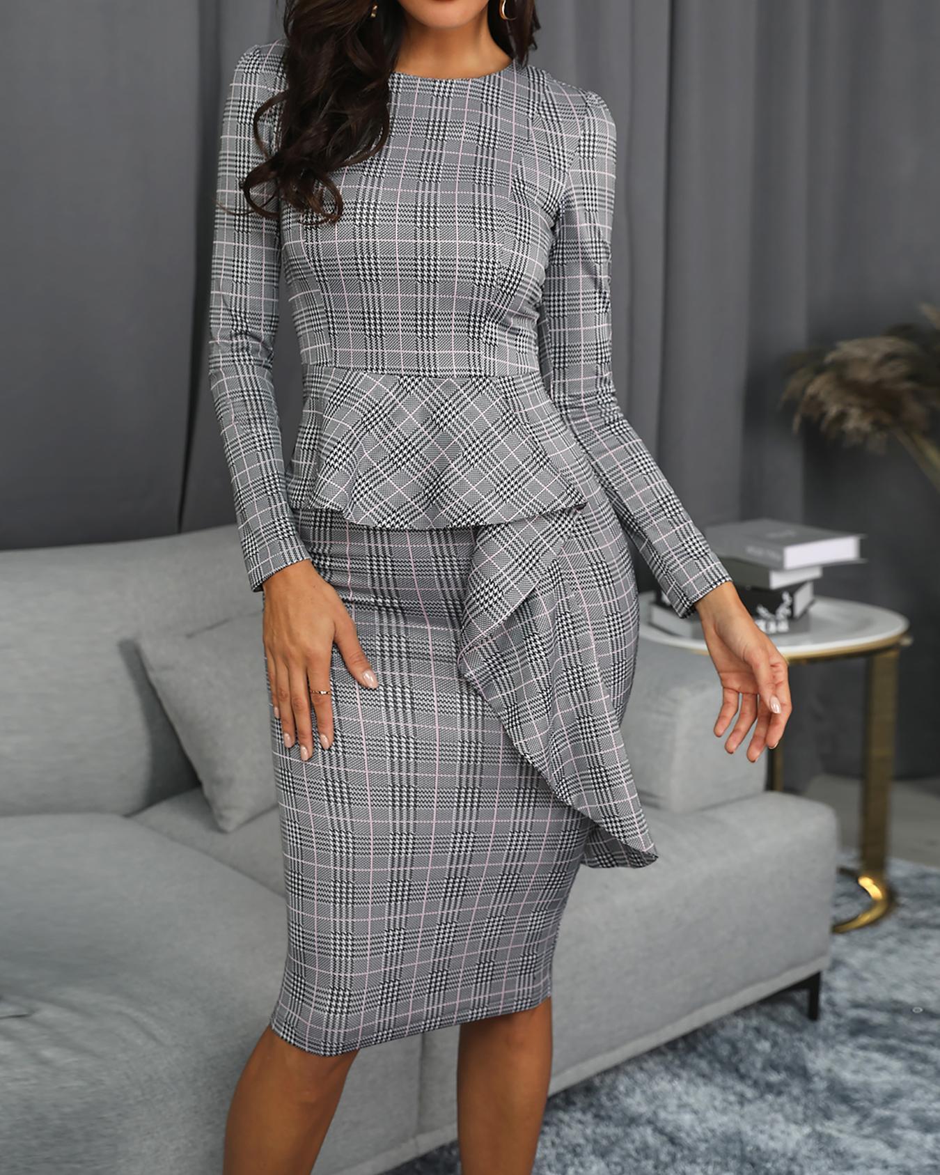 78db6402b60 Plaid Print Ruffle Trim Midi Dress Online. Discover hottest trend fashion at  chicme.com