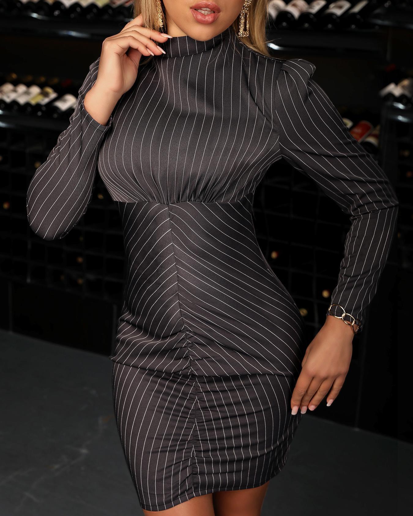 Long Sleeve Striped Bodycon Dress