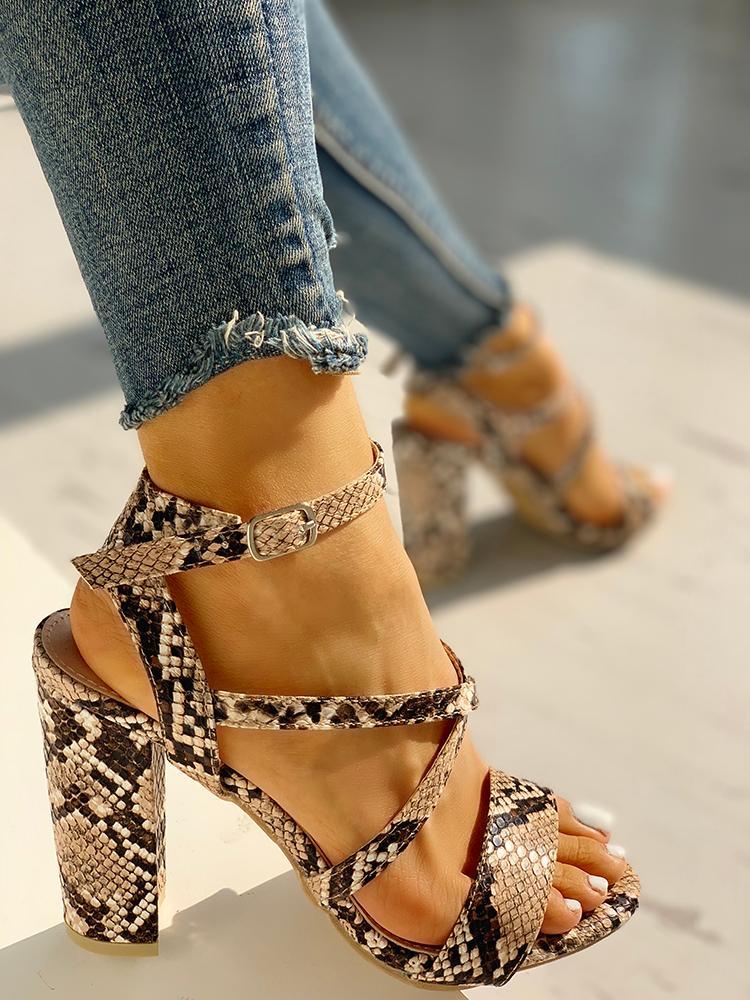 boutiquefeel / Snakeskin Crisscross Chunky Heeled Sandals