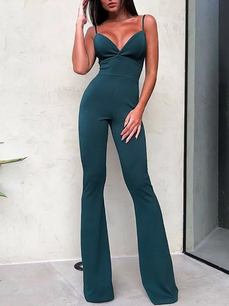 boutiquefeel / Solid Plunge Spaghetti Strap Flared Jumpsuit