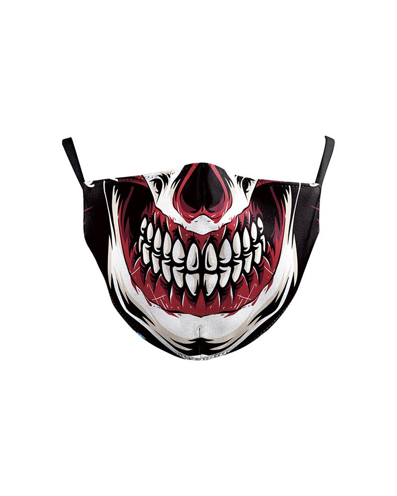 Mouth Skull Print Colorblock Breathable Face Mask thumbnail