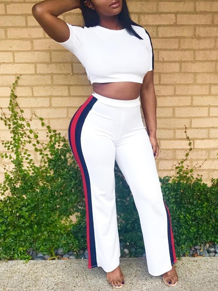 Striped Side Crop Top& Long Pants Sets