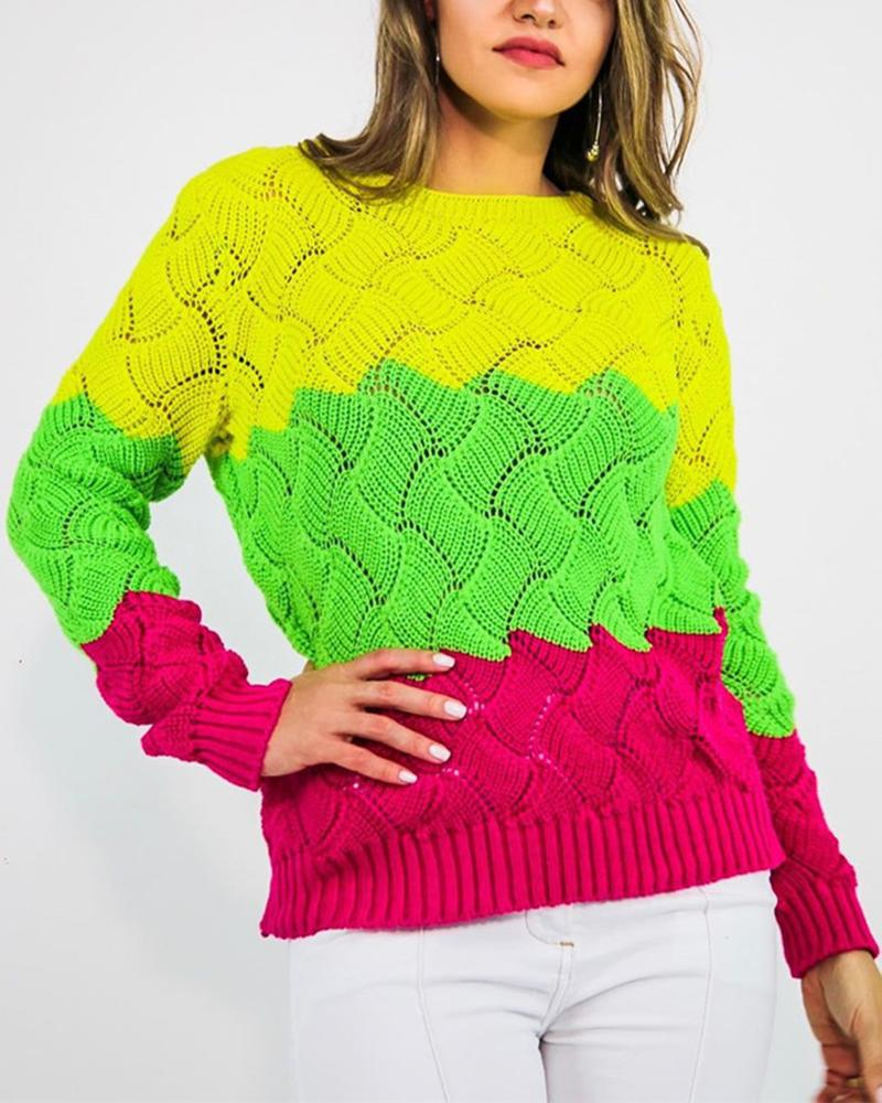 Comfy Colorblock Winter Wear Sweater thumbnail