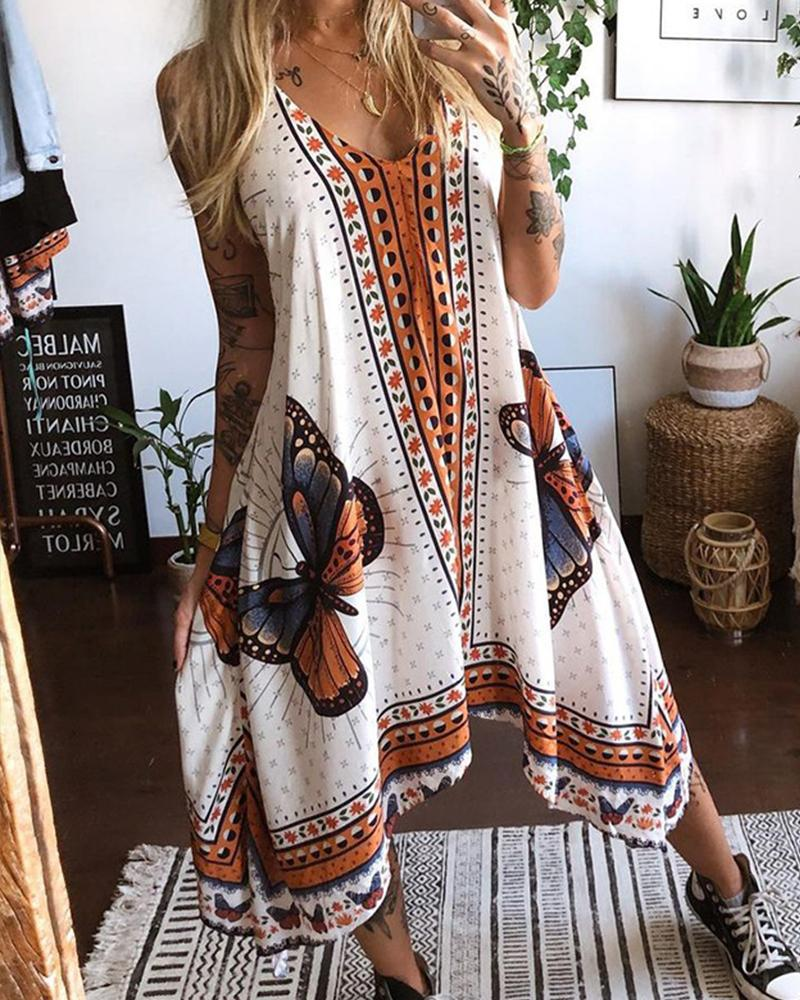 Retro Butterfly Print Strap Backless Loose Maxi Dress
