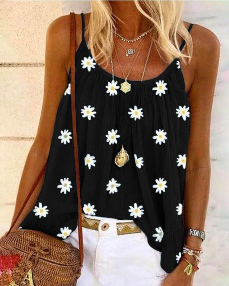 Daisy Print U-neck Casual Tank Top thumbnail