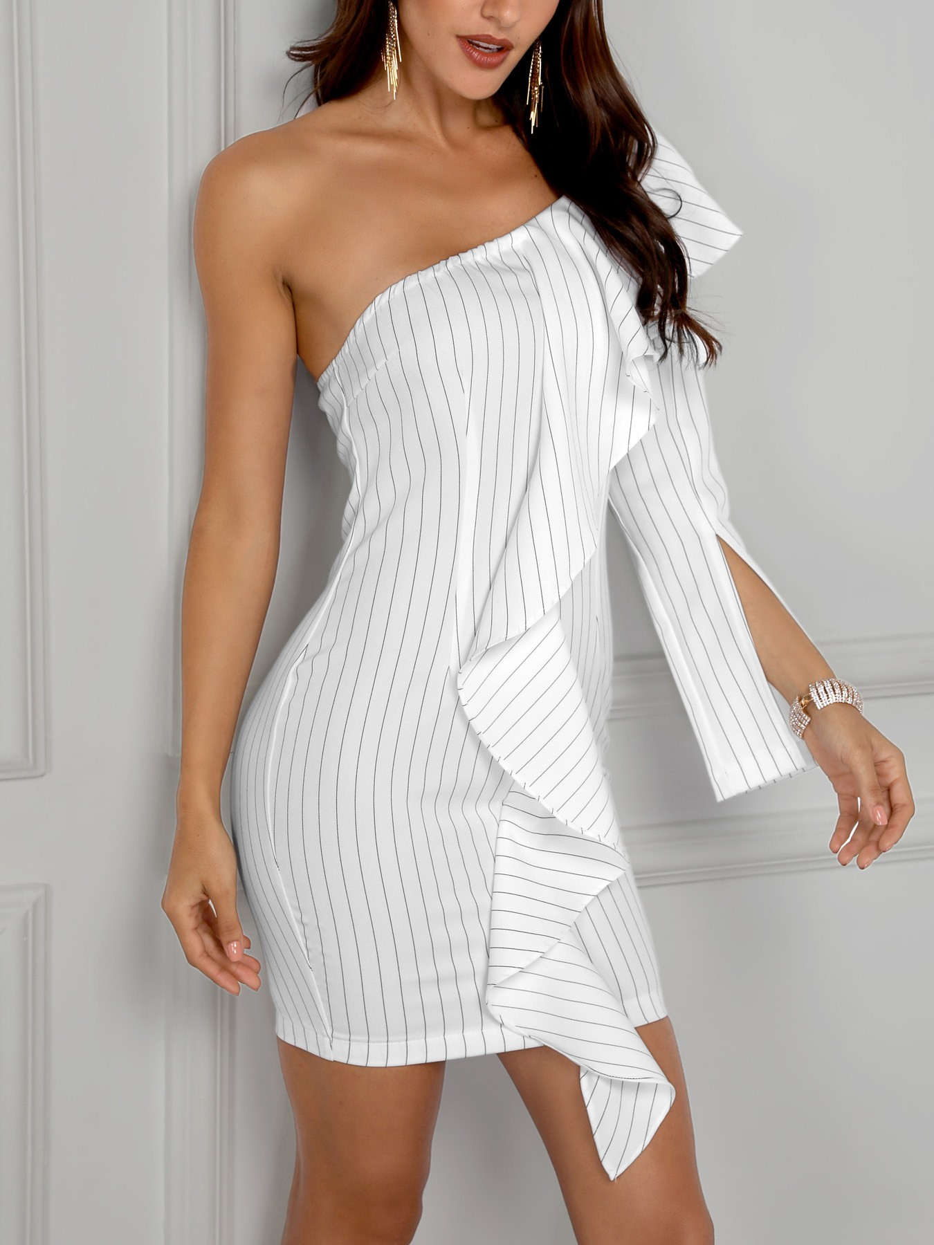 Pinstripes Ruffles One Slit Sleeve Mini Dress