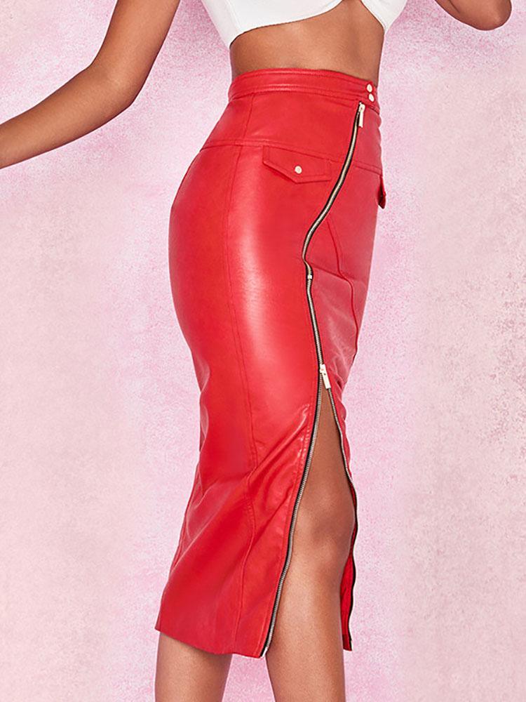 boutiquefeel / Zipper Up Fake Pocket Design PU Skirt