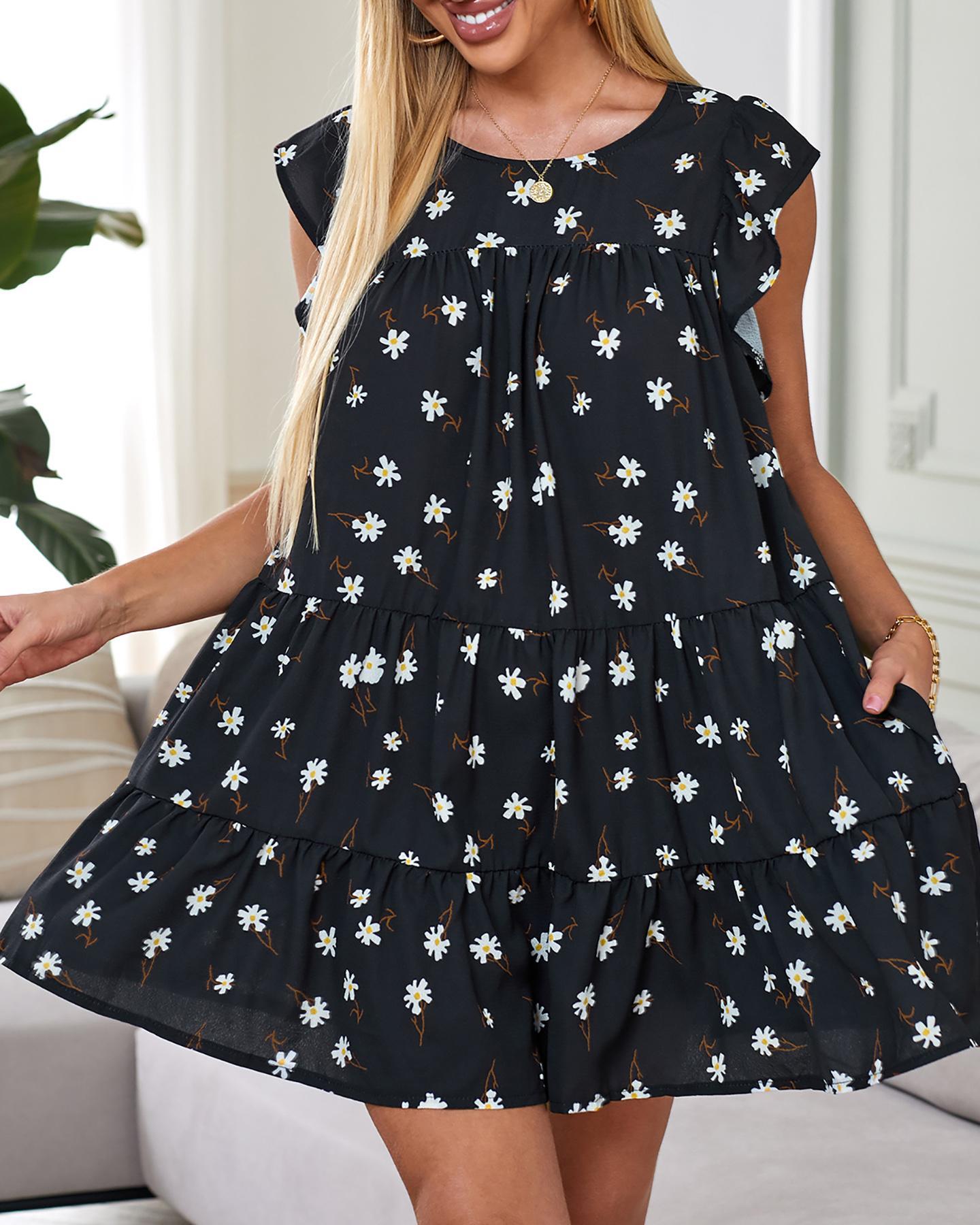 Daisy Print Ruffles Sleeve Casual Dress thumbnail