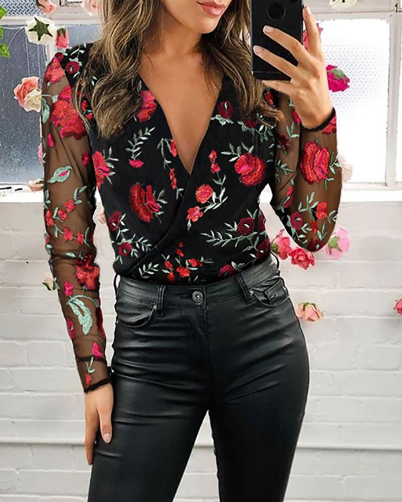 Mesh Floral Embroidery Plunge Blouse thumbnail