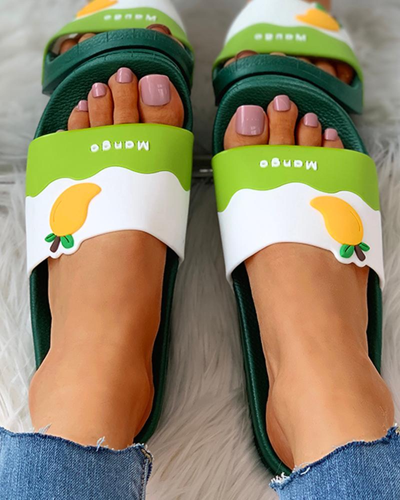 Fruit Pattern Open Toe Flat Sandals thumbnail