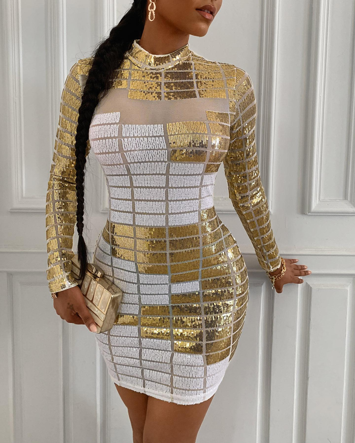 Abstract Sequins Mock Neck Long Sleeve Bodycon Dress thumbnail