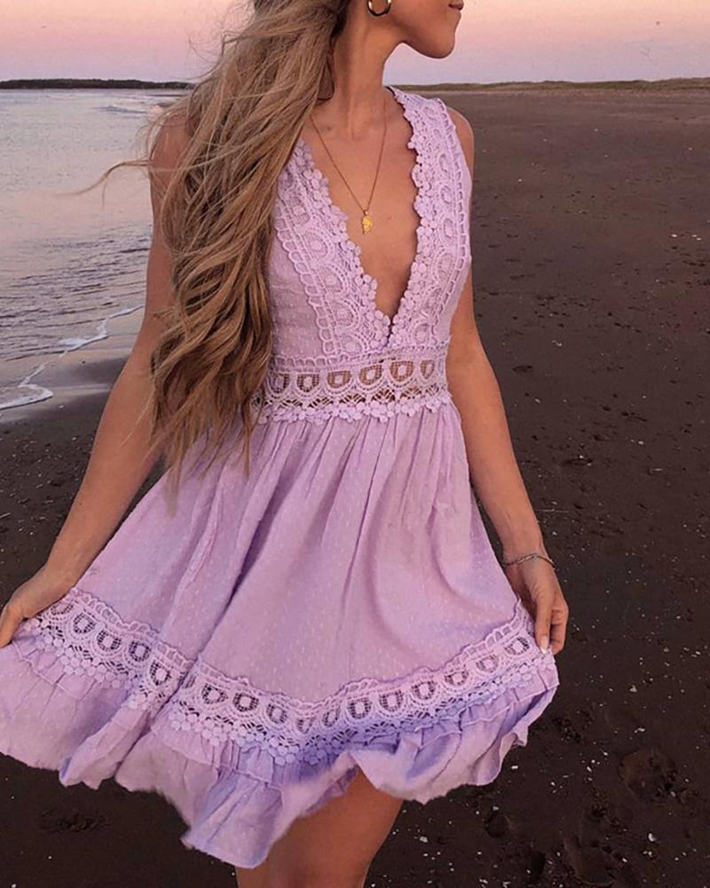 Sleeveless V-Neck Backless Guipure Lace Dress, Purple