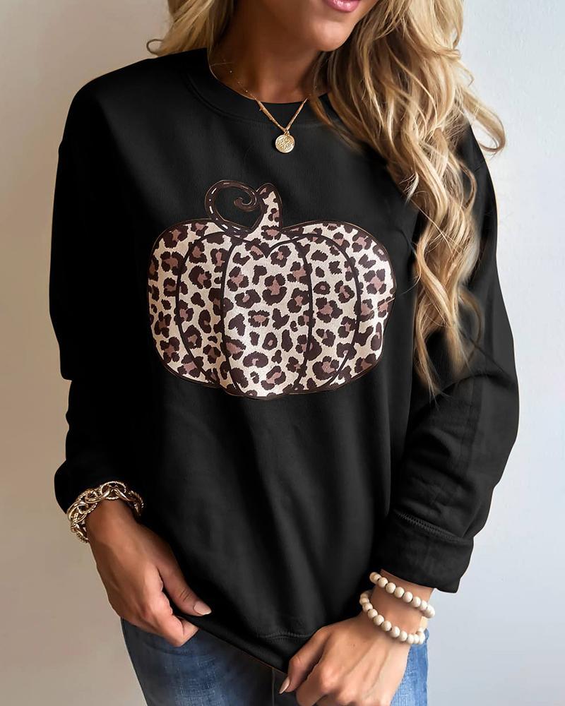 Cheetah Pumpkin Pattern Print Long Sleeve Sweatshirt thumbnail
