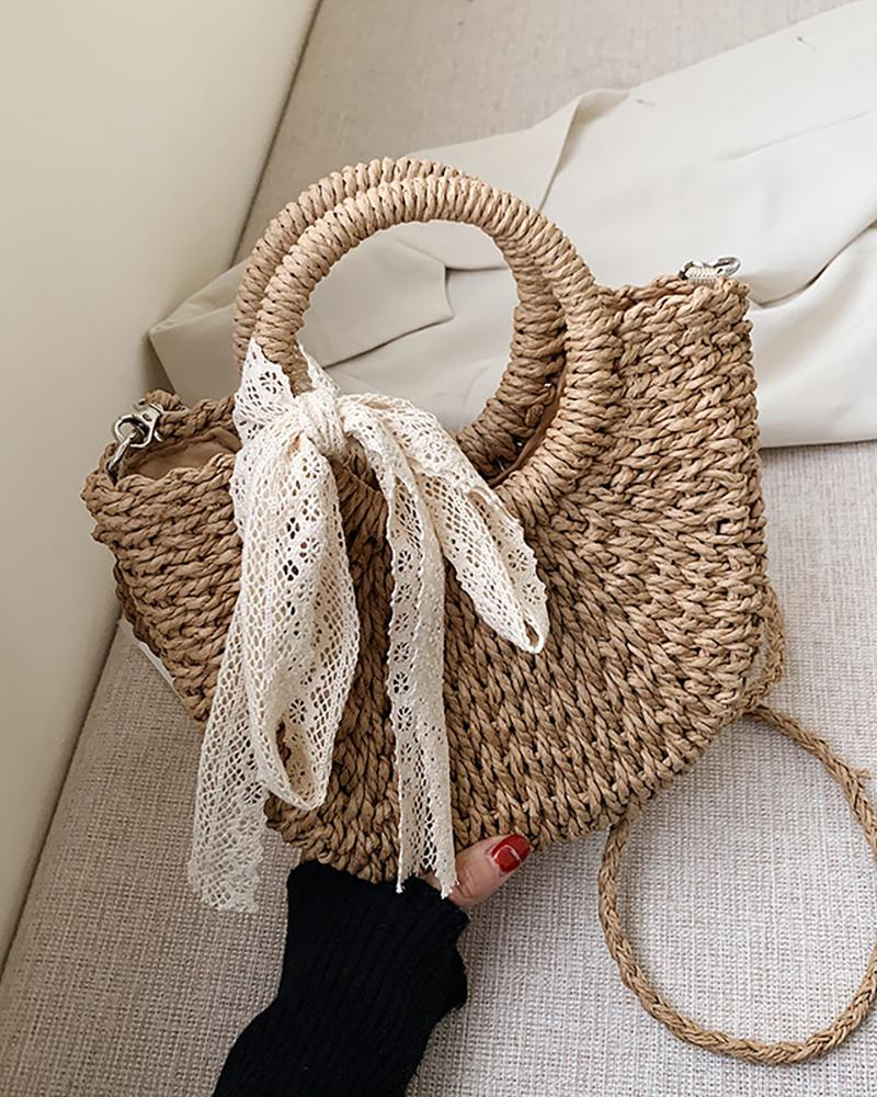 Straw Woven Round Handle Bowknot Design Tote Bags thumbnail