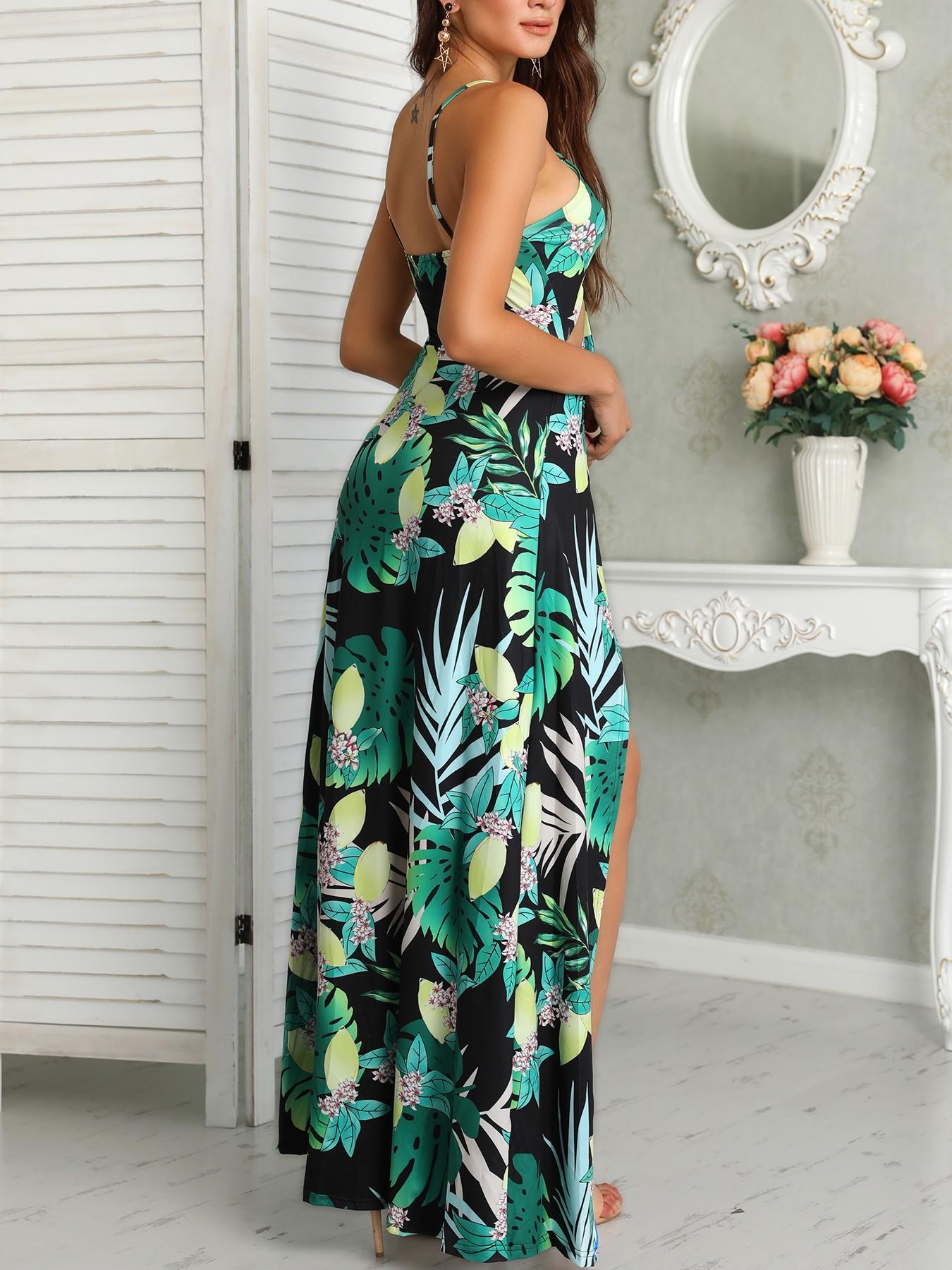 boutiquefeel / Tropical Cutout Knot Front Romper Maxi Dress