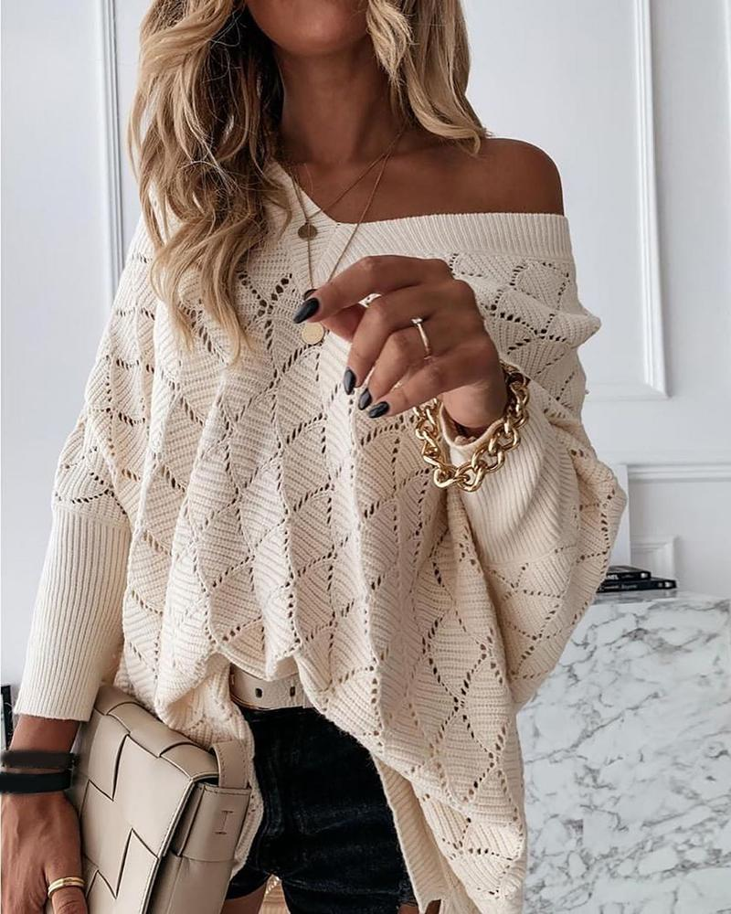 Hollow Out Batwing Sleeve Casual Sweater thumbnail