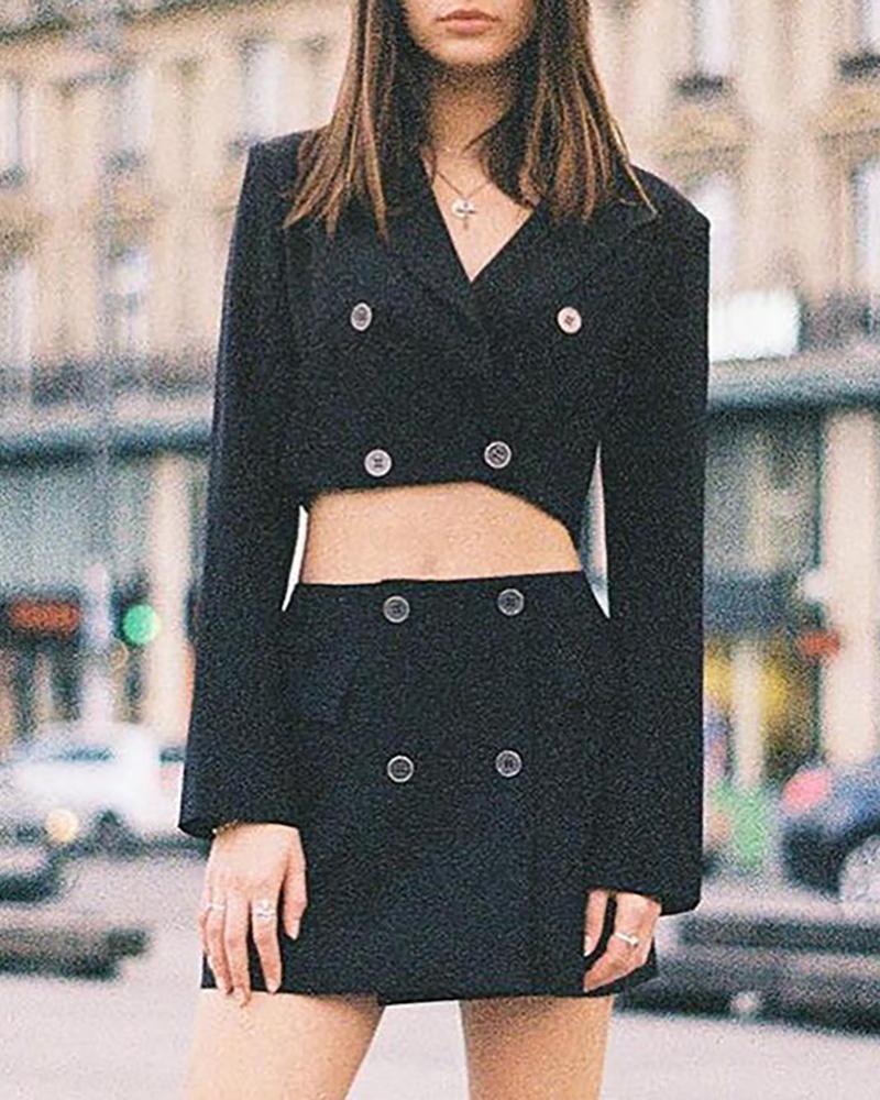 Buttoned Crop Blazer Coat & High Waist Skirt Set thumbnail