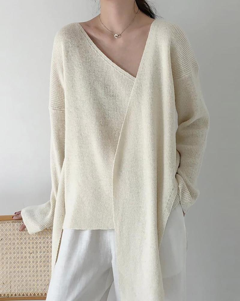 Long Sleeve Knotted Casual Sweater thumbnail