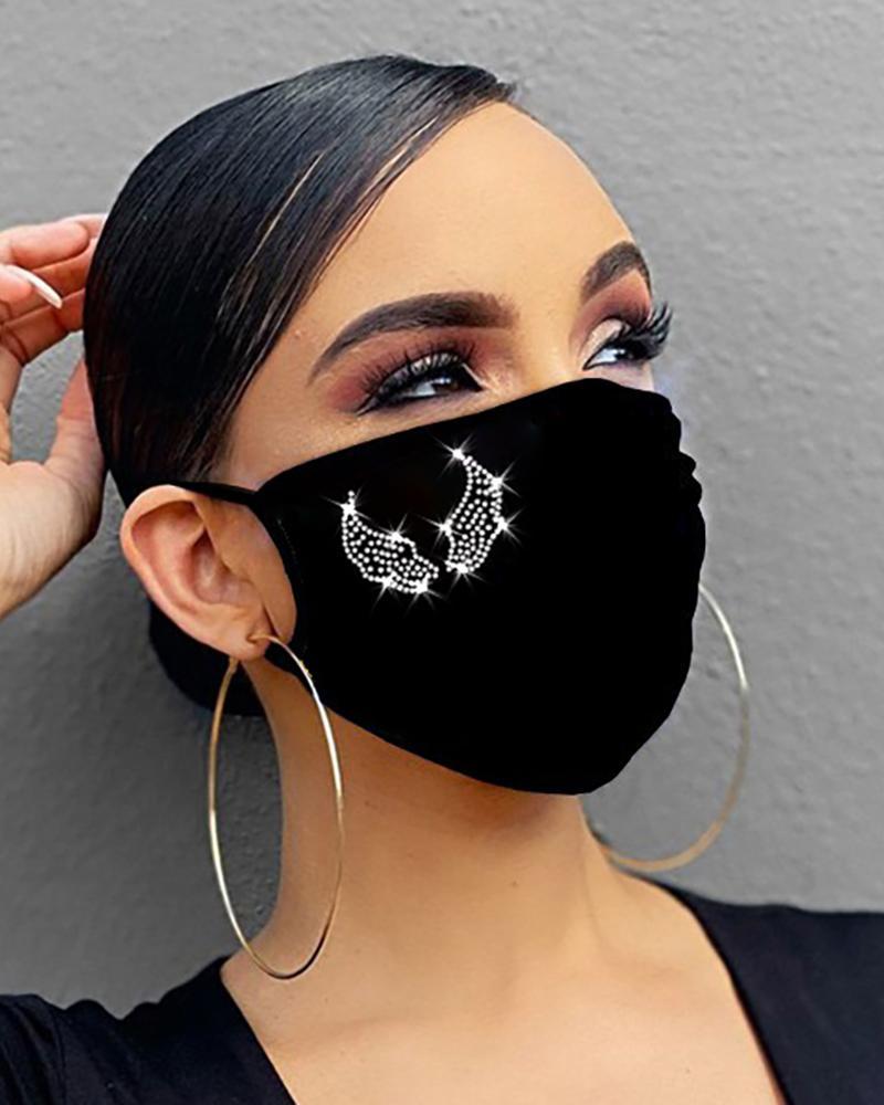 Diamond / Lip / Star / Heart / Wing Pattern Bling Rhinestone Face Mask thumbnail