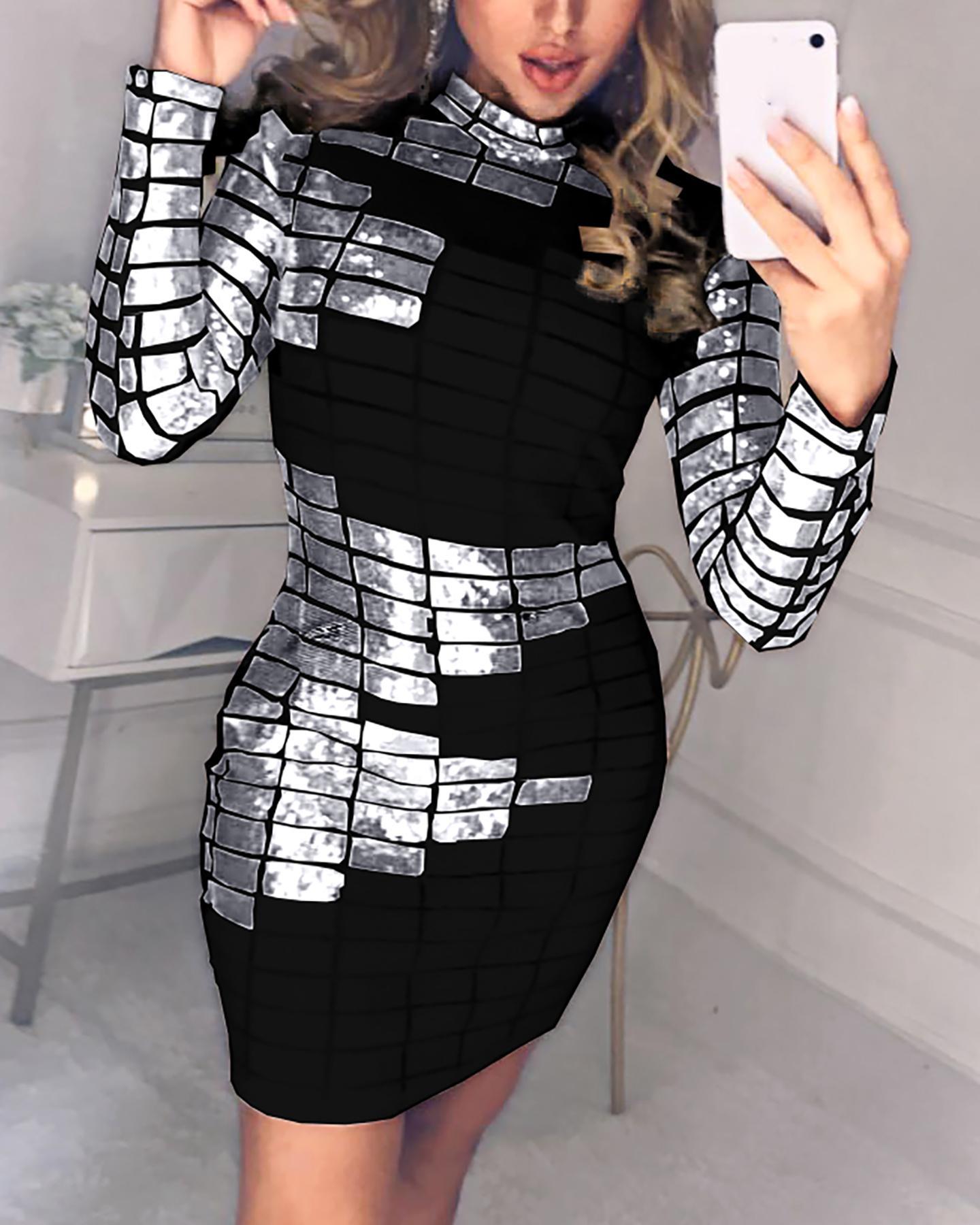 Abstract Sequins Mock Neck Long Sleeve Bodycon Dress thumbnail