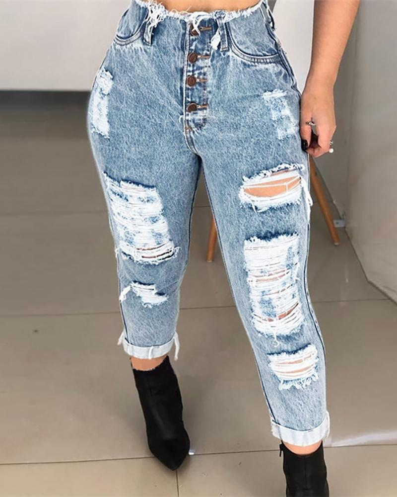High Waisted Boyfriend Style Cutout DenimJeans