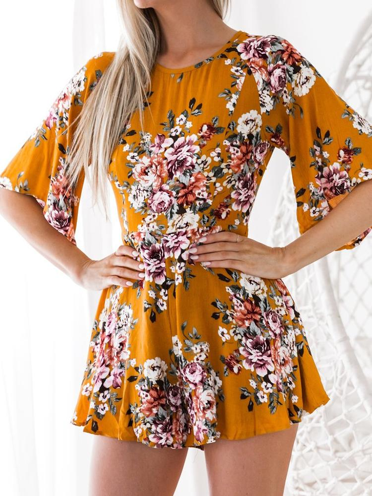 2fe71fb8a2f1 Stylish Floral Print Backless Playsuit Online. Discover hottest trend  fashion at chicme.com