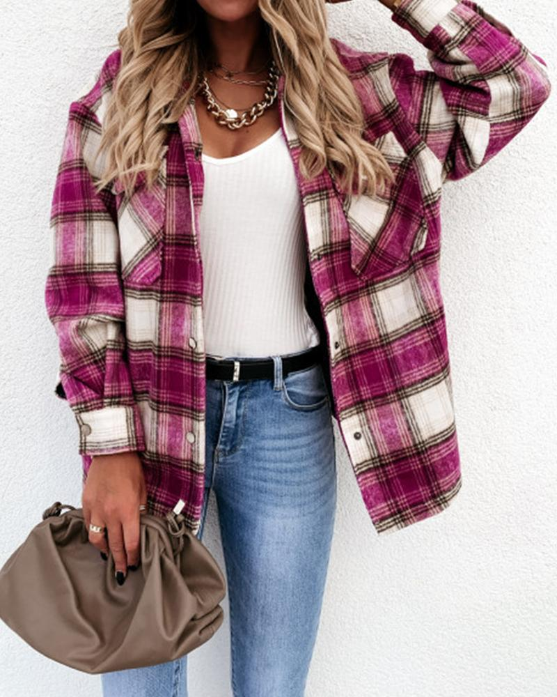 Plaid Button Pocket Design Long Sleeve Shirt