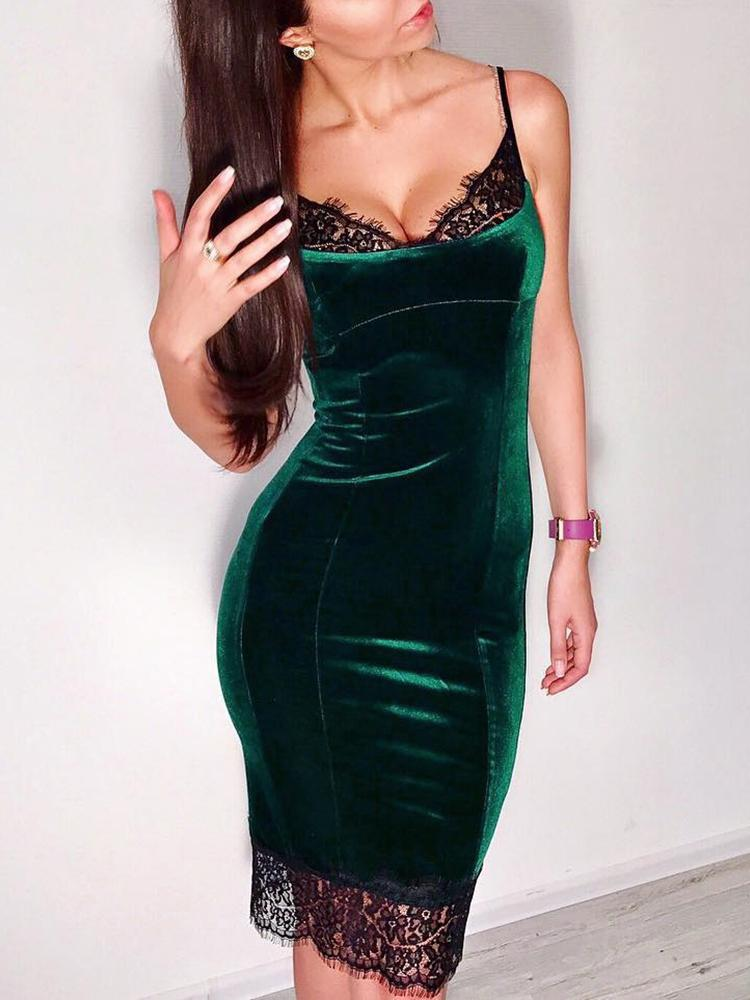 Eyelash Lace Insert Velvet Spaghetti Strap Dress