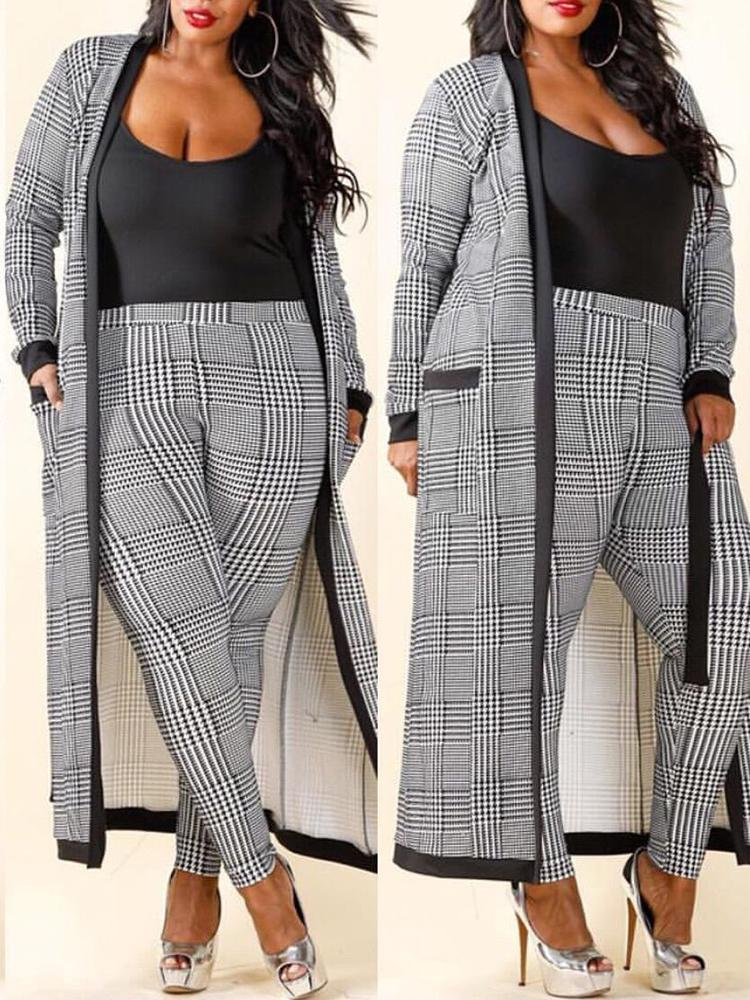 boutiquefeel / Houndstooth Print Cardigan and Pants Set