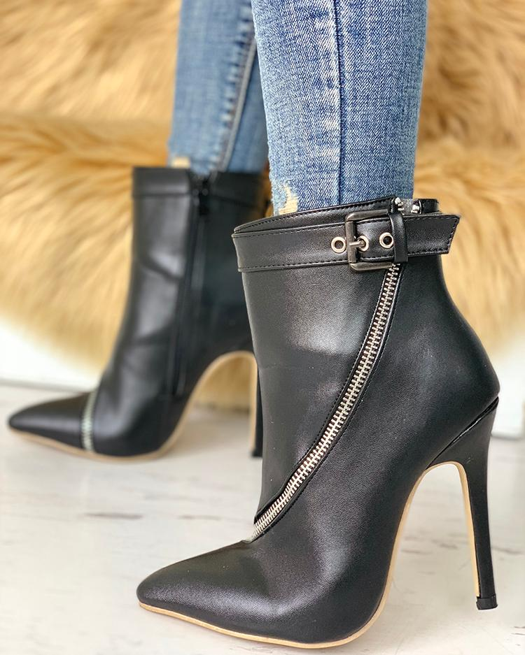 Zip Detail Buckle PU Ankle Boots