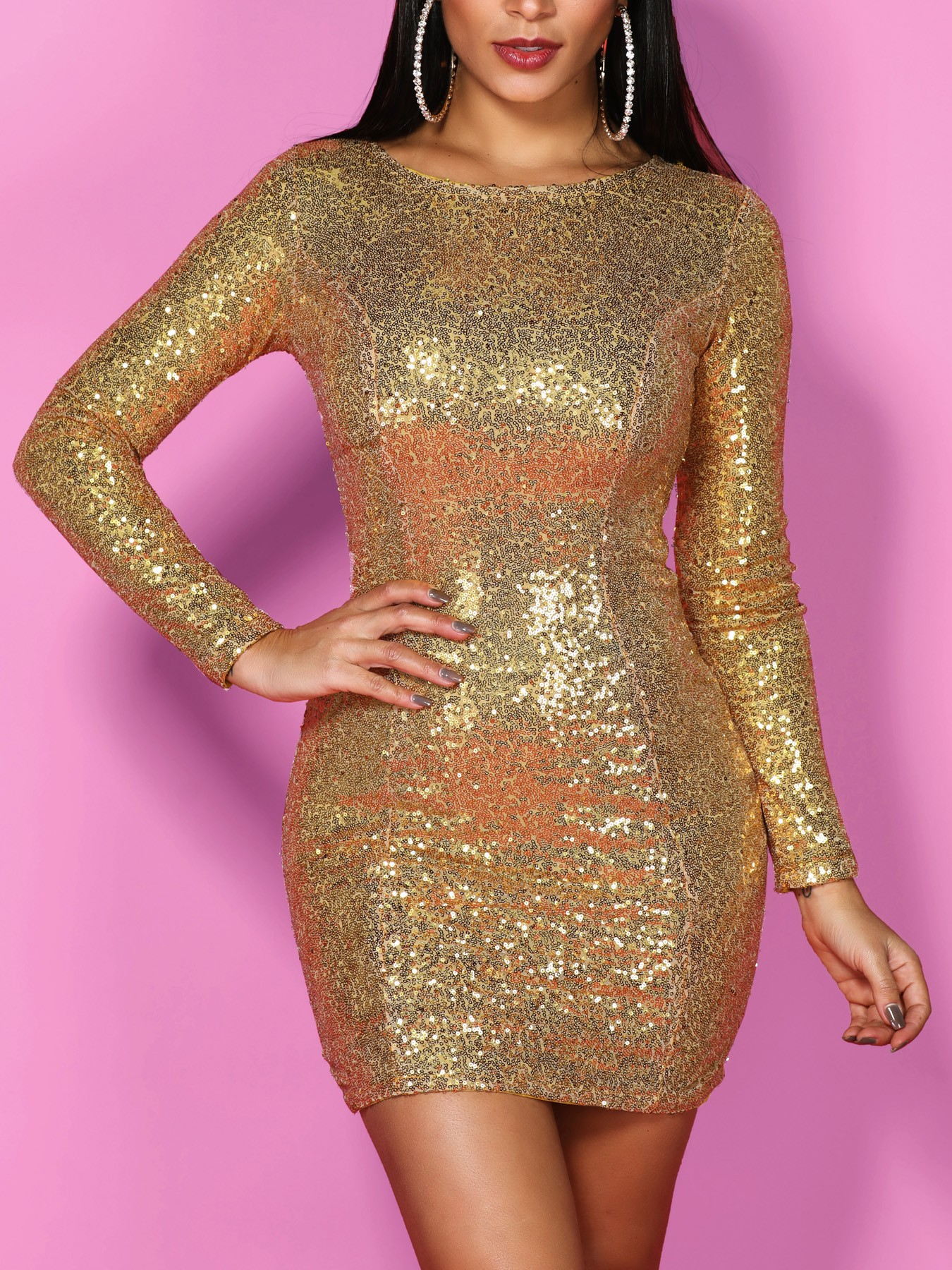 boutiquefeel / Shiny Long Sleeve Bodycon Sequin Party Dress