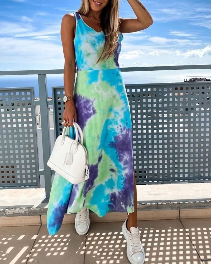 Tie Dye Print Sleeveless Slit Casual Dress thumbnail