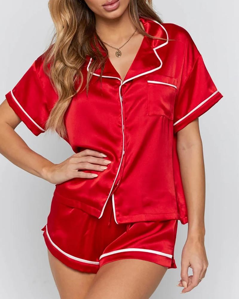 Colorblock Satin Short Sleeve Pajamas Set thumbnail